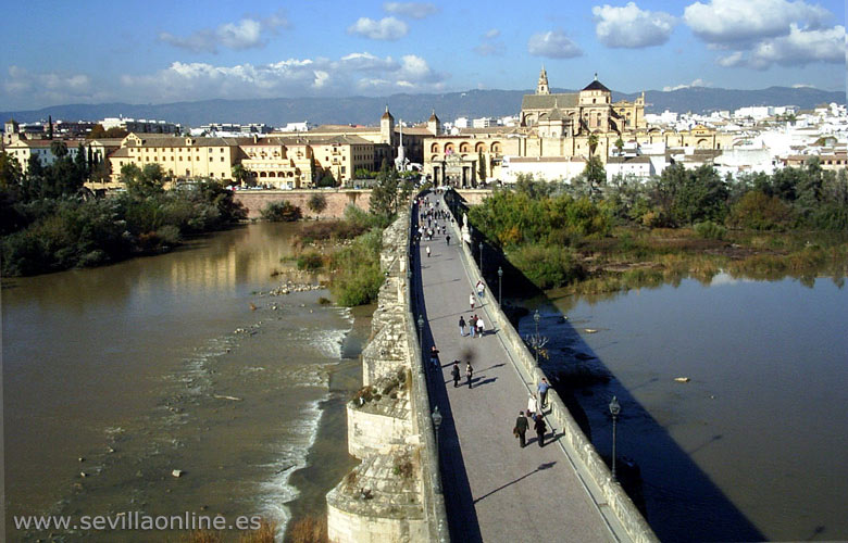 Panoramic view over Cordoba, Spain - the Roman bridge, the Mezquita (Mosque) and the old city center.
