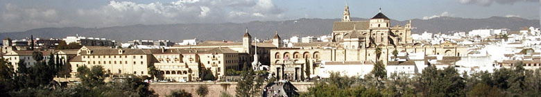Panoramic view over the Roman bridge and the Mezquita, Cordoba - Andalusia, Spain.