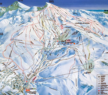 Sierra Nevada ski, Pradollano - map of ski pistes.
