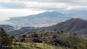 View over the city from Montes de Malaga natural park