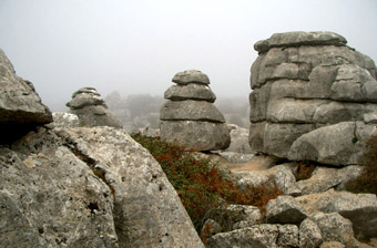 Rocks in the fog at Torcal de Antequera
