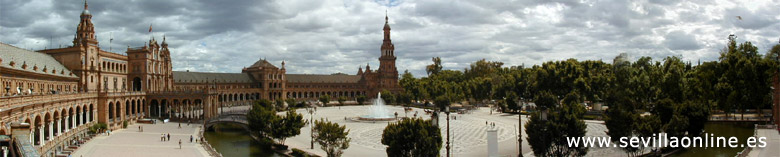 La Plaza de España (the Spanish square) in Seville, Spain.