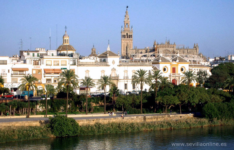 View over the city center and the Guadalquivir river, Seville - Andalusia, Spain.