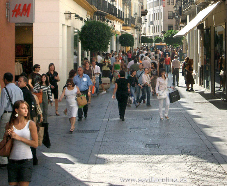 Tetuan street, shopping in Seville - Andalusia, Spain.